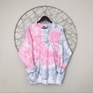 NEW pink and gray tie dye crewneck